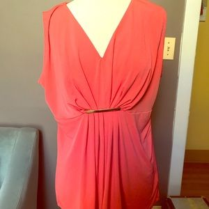 Michael Kors orange shell with drape - size large